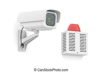 Security surveillance camera with outdoor alarm siren , 3D rendering