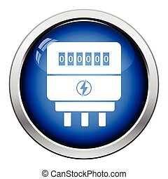 Electric meter icon Glossy button design Vector illustration...