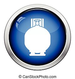 Gas cylinder icon. Glossy button design. Vector...