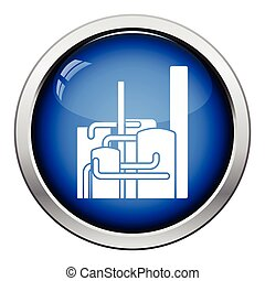 Chemical plant icon Glossy button design Vector illustration...