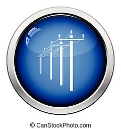 High voltage line icon Glossy button design Vector...