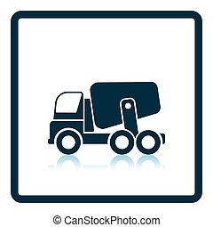 Icon of Concrete mixer truck Shadow reflection design Vector...