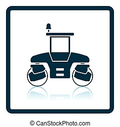 Icon of road roller. Shadow reflection design. Vector...
