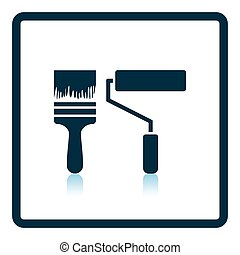 Icon of construction paint brushes Shadow reflection design...