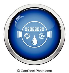 Water meter icon. Glossy button design. Vector illustration.