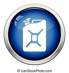 Fuel canister icon Glossy button design Vector illustration...