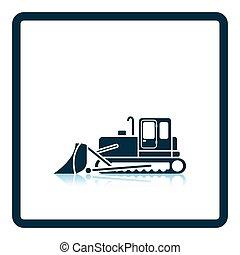Icon of Construction bulldozer Shadow reflection design...