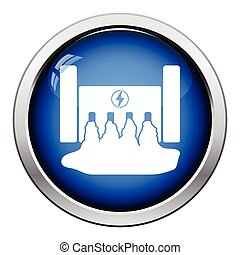 Hydro power station icon Glossy button design Vector...