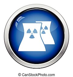 Nuclear station icon. Glossy button design. Vector...