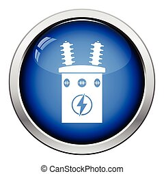 Electric transformer icon Glossy button design Vector...