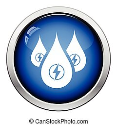 Hydro energy drops icon. Glossy button design. Vector...