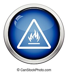 Flammable icon Glossy button design Vector illustration