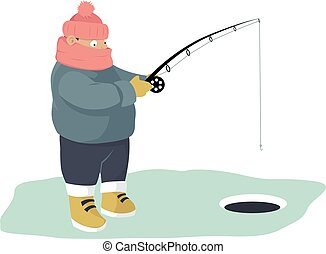 Ice fishing - Warmly dressed person ice fishing, EPS 8...