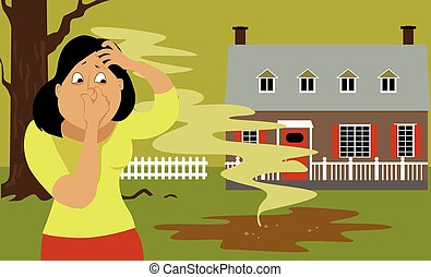 Septic tank problem - Woman standing in a backyard next to a...