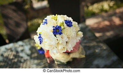Wedding bouquet on a table