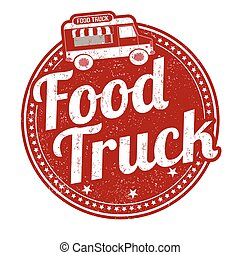 Food truck stamp - Food truck grunge rubber stamp on white...