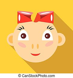 Cute baby girl icon, flat style