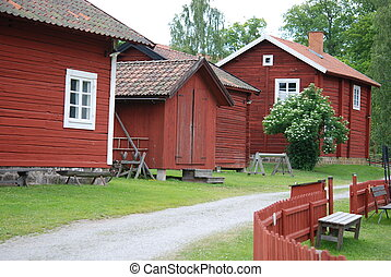 Typical Swedish houses in red