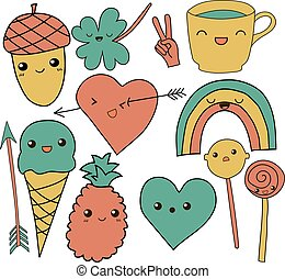 cute hand drawn doodle collection vector illustration coffee, arrow, ice cream, heart, rainbow, clover, love, acorn, lollipop pineapple isolated on white background