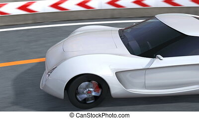 Sports car on the highway - White electric sports car on the...