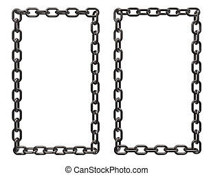 metal chains frame border on white background - 3d rendering