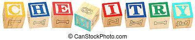 alfabeto, blocos, Química