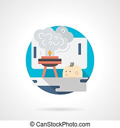 Kids at laboratory color detailed vector icon