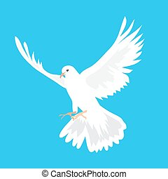 Beautiful white dove flying way up in a blue sky