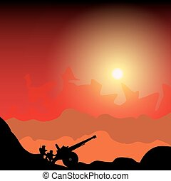 Silhouette cannon and soldiers against background of the...