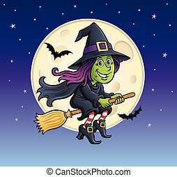 Girl Witch Riding A Broom with moon - Cartoon witch...