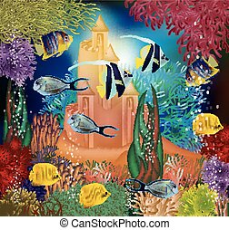 Underwater wallpaper with tropical fish and sand castle,...