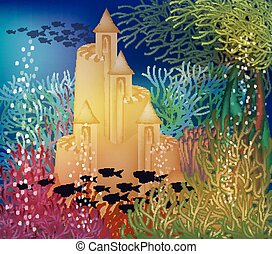 Underwater wallpaper with sand castle, vector illustration