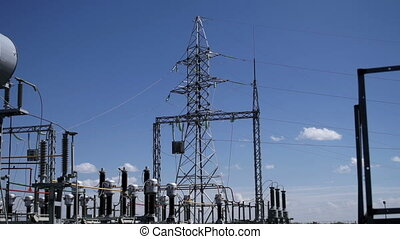 Electric power station Power lines - Electric power station,...