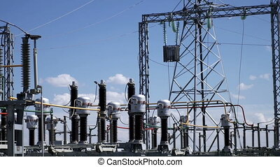 Electric power station. Power lines. - Electric power...