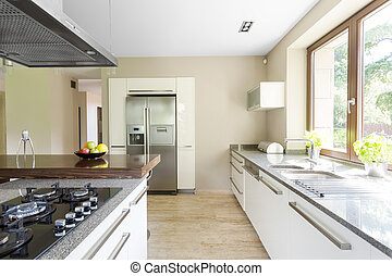 Opt for functionality - Shot of a white spacious kitchen in...