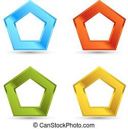 Pentagone shapes set - Different colors Pentagone shapes set...