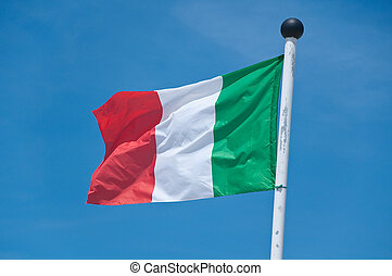 beautiful italy flag flying in the blue sky