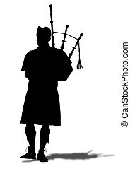 Bagpipes - Illustrated silhouette of a person playing the...