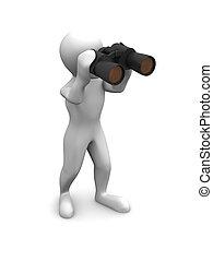 Men with binoculars. 3d
