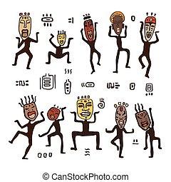 Dancing figures in African masks