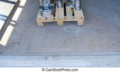 Plywood Pallet with Flanges - Forklift Brings Plywood Pallet...