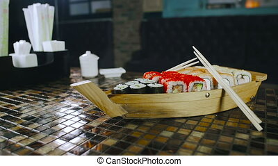 Complete Sushi On Wooden Board Dishes. Restaurant Business