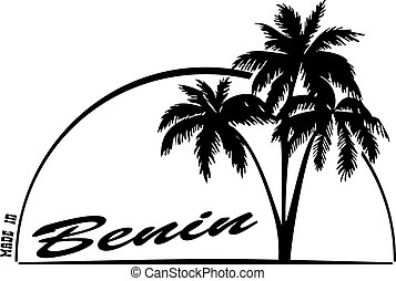Made in Benin - the stamp imprint with a palm tree