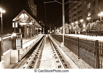 Hoboken train station - Train station in Hoboken at night,...