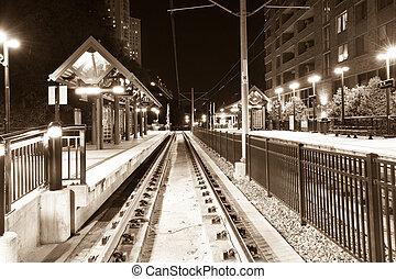 Hoboken train station - Train station in Hoboken at night,...