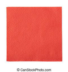 vermelho, papel, guardanapo, isolado,