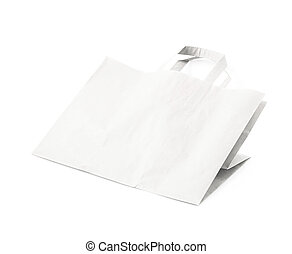 Paper bag isolated - Folded paper bag isolated over the...