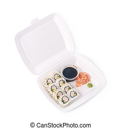 Set of sushi rolls isolated - Set of sushi rolls served in a...