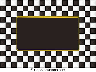 checkered oblong picture frame - Black and white checkered...