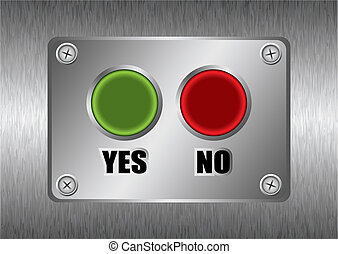 yes no metal button